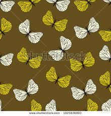 yellow butterfly pattern stock vector 1025836093