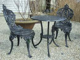 elegant cast iron bistro table and chairs outdoor stylish cast