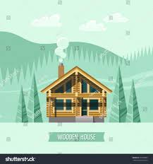 chalet wooden house eco house house stock vector 270596885