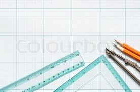 divider pencils and rulers on blue graph paper background stock