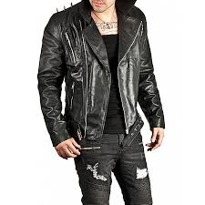 motorcycle jackets spiked ghost rider jacket black leather motorcycle jacket