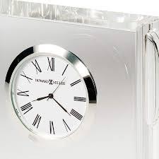 Crystal Mantel Clocks White Dial Rectangular Silver Glass Mantel Clock Black Gift Box