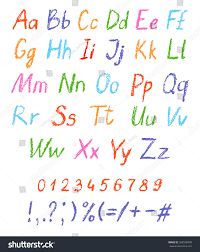 crayon childs drawing alphabet pastel chalk stock vector 363568358