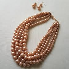 multi layered necklace images Women 39 s multi layered statement pearl necklace set sabatues llc jpg
