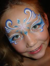 blue swirly teardrop design face painting face painting