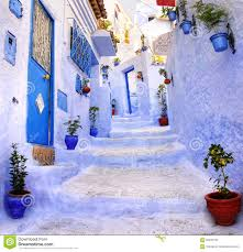The Blue City Morocco by Street In The Blue City Chefchaouen Morocco Stock Photo Image
