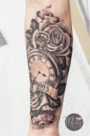 sand clock tattoo designs memorial tattoo realistic pocket watch roses and birth date