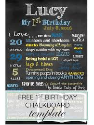 1st birthday chalkboard birthday chalkboard template free for baby s 1st