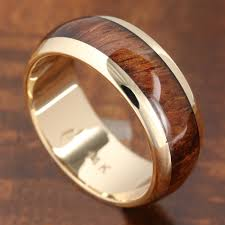 Hawaiian Wedding Rings by 14k Solid Yellow Gold With Koa Wood Inlay Wedding Ring 7mm