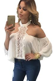 shoulder blouses dear lover stylish chiffon white chocker neck bare shoulders flare