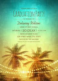 Unique String Lights by Tropical Beach Palm Tree Graduation Party Invitations String