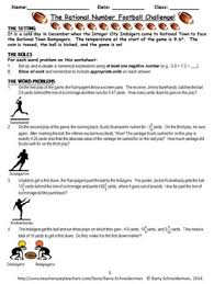 adding and subtracting rational numbers worksheets rational number word problem football challenge by barry schneiderman