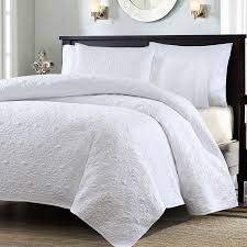 Queen Bed Coverlet Set Full Queen Size White Quilted Coverlet Set With 2 Shams With