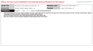 Sales Representative Resume Sample by Textiles Sales Representative Job Title Docs