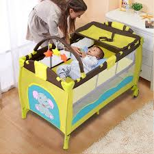 Bed Crib New Green Baby Crib Playpen Playard Pack Travel Infant Bassinet