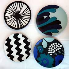 marimekko target set 4 salad plates black white blue melamine new