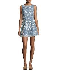 alice olivia lindsey embroidered a line denim mini dress indigo
