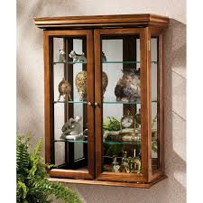 wood curio cabinet with glass doors unique decoration brown wall mounted cabinets glass