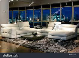 spacious living room beautiful view through stock photo 51494182