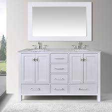 Kensington 60 Vanity 60 Inch Malibu Pure White Double Sink Bathroom Vanity Cabinet With