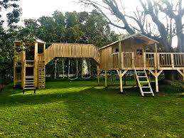 wooden elements kids playhouse and jungle gym set capetown