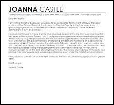 front of house manager cover letter sample livecareer