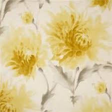 Yellow Drapery This Is A Yellow Gray And White Watercolor Floral Cotton Drapery
