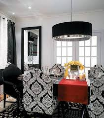 dining rooms decoration ideas with black drum pendant and mirror