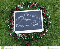 merry from everyone here message stock photo image