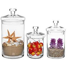 Kitchen Decorative Canisters by Amazon Com Set Of 3 Clear Glass Kitchen U0026 Bath Storage Canisters