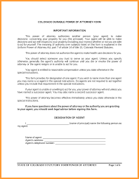 Statutory Power Of Attorney Form by 8 Power Of Attorney Form Colorado Week Notice Letter