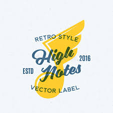 high notes abstract vintage vector emblem label or logo template
