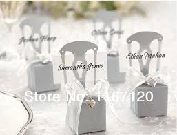 Wedding Candy Boxes Wholesale 150pcs Lot Wholesale Silver Chair Bomboniere Boxes Place Card
