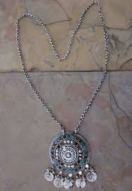 necklace with vintage images Vintage chain pendant long statement afghan necklace fashion jpg