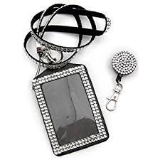 Rhinestone Business Card Holder Amazon Com Qidun Badge Holder Rhinestone Lanyard Bling