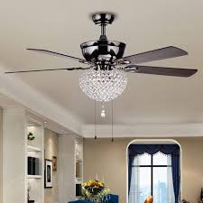 Ceiling Fan And Chandelier Taliko 3 Light Crystal Basket 5 Blade Wood With Black Metal