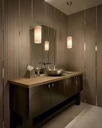 modern bathroom vanity lighting ideas dark khaki futuristic shower