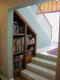 under stairs home library design