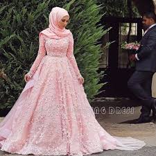 wedding dress online find a pink lace muslim wedding dresses sleeve