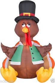 gemmy pilgrim happy turkey airblown thanksgiving lawn