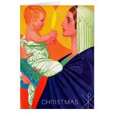 deco madonna child religious card zazzle