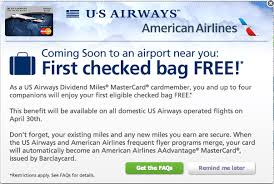 United Check Bag Fee First Checked Bag Free With Us Airways Mastercard Milecards Com