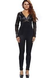 high neck jumpsuit black plunging v neck high waist jumpsuit rompers and