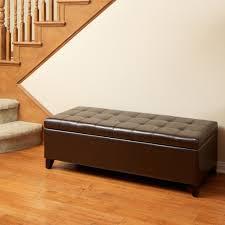 storage ottoman bench brown santa rosa brown tufted leather storage ottoman bench great deal
