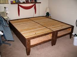 Platform Bed Frame Plans Queen by Diy Bed With Storage For Under 100