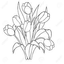 tulipanes flores ornamentales en blanco negro colorear