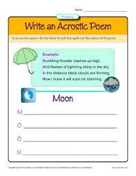write an acrostic poem poetry worksheets