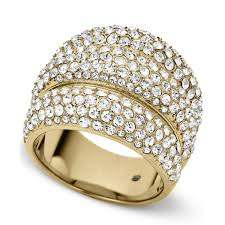 crystal pave rings images Lyst michael kors goldtone crystal pave dome ring in metallic jpeg