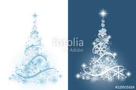 Blue Christmas Decorations Background by Christmas Tree From Snowflakes On White And Blue Background
