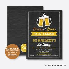 birthday cheers cheers and beers birthday invitation editable instant